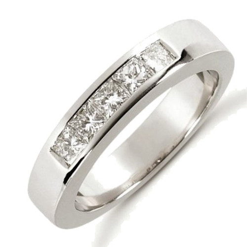 14Kt White Gold Princess Cut Channel Set 0.50 ct tw Diamond Anniversary Ring