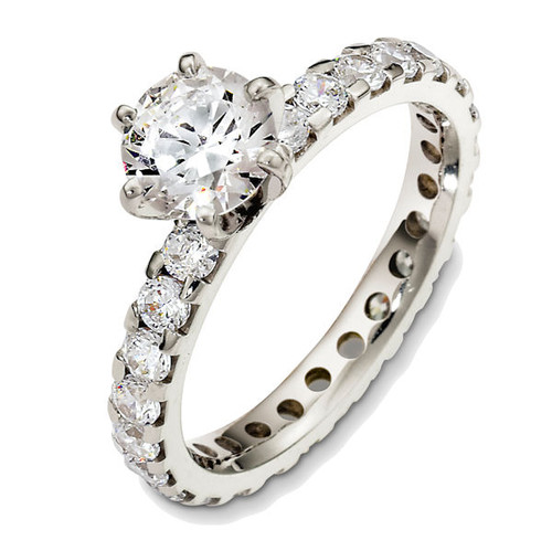 1.10 Ct Tw Diamond Eternity Engagement Ring