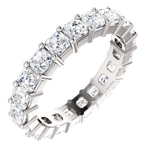 White Gold 3.15 ct tw Asscher Eternity Ring