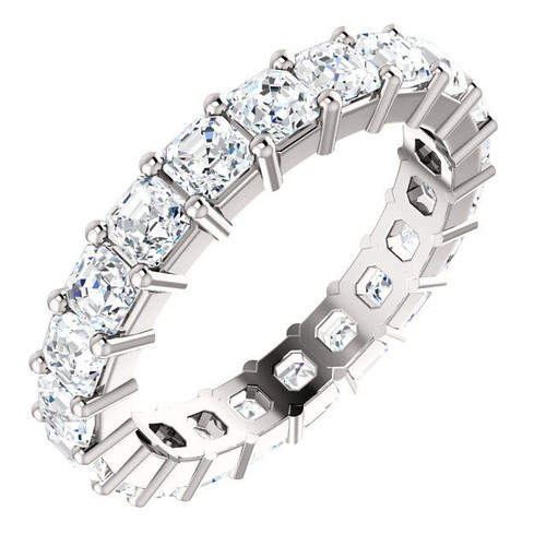 White Gold 3.15 ct tw Asscher Eternity Ring