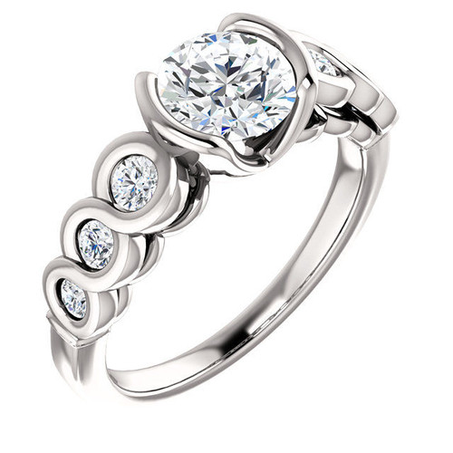 White Gold Round Bezel Engagement Ring