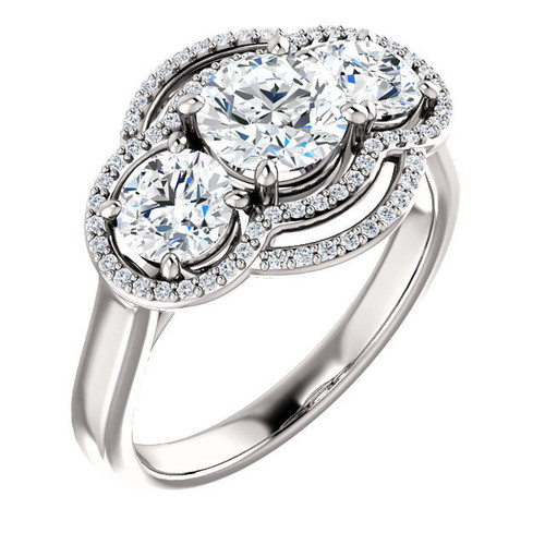 White Gold 3-Stone Halo Engagement Ring