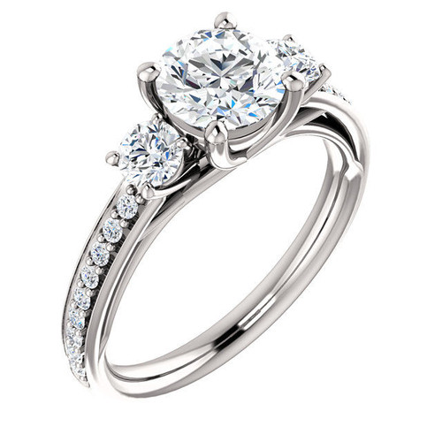 White Gold 3-Stone Diamond Accent Engagement Ring