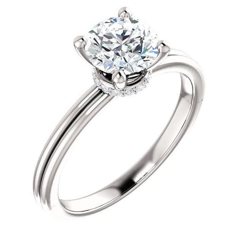 White Gold Round Diamond Accent Ring