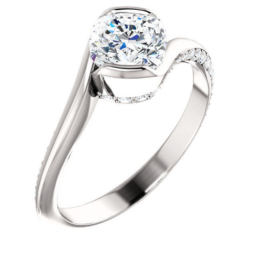 White Gold Cushion Cut Diamond Engagement Ring