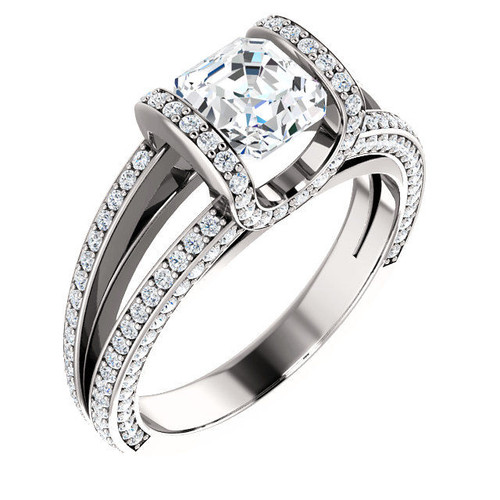 White Gold Asscher Half Halo Engagement Ring