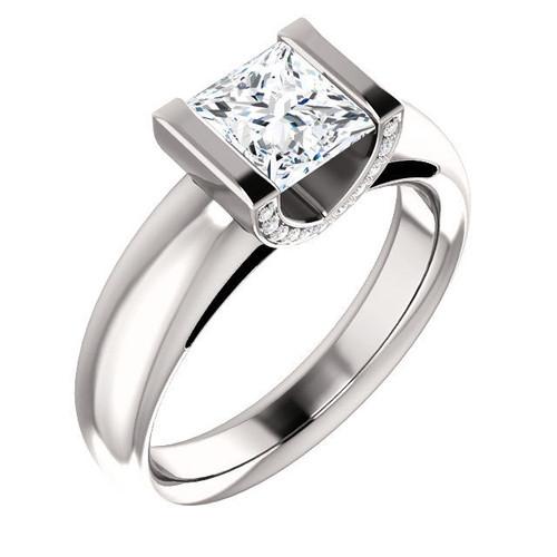 White Gold Diamond Princess Cut Engagement Ring