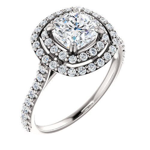 Platinum Double Halo Cushion Engagement Ring