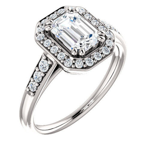 0.31 Ct Tw Halo Engagement Ring Emerald Cut