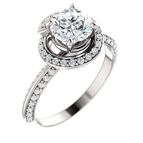 White Gold Halo Round Diamond Engagement Ring