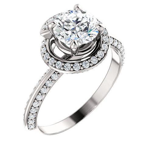 White Gold Halo Round Diamond Engagement Ring