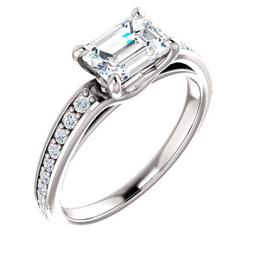 Emerald Cut Diamond Accent Engagement Ring