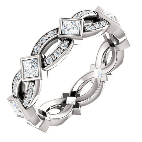 Princess Cut Twisted Eternity Ring