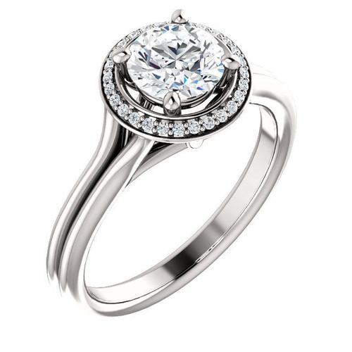 0.14 Ct Tw Diamond Halo Engagement Ring
