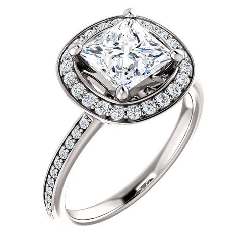 0.29 Ct Tw Diamond Halo Engagement Ring