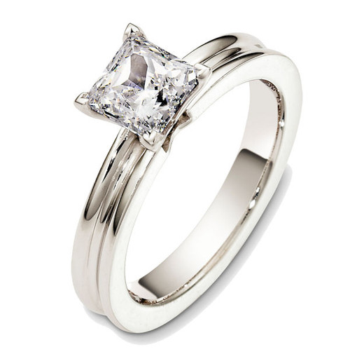 White Gold Solitaire Princess Cut Engagement Ring