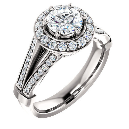 White Gold Halo Round Cut Engagement Ring