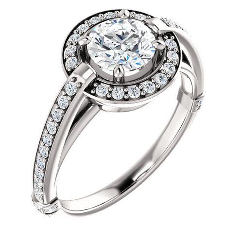 White Gold Halo Diamond Round Cut Engagement Ring