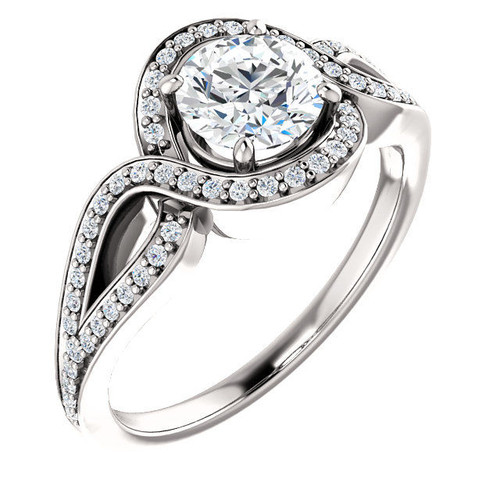 White Gold Twisted Halo Engagement Ring