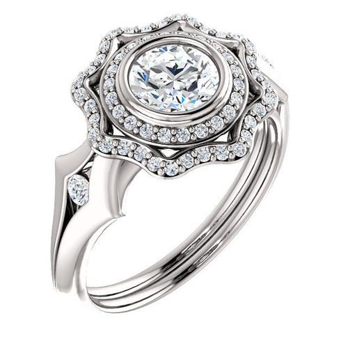 14Kt White Gold Halo Engagement Ring