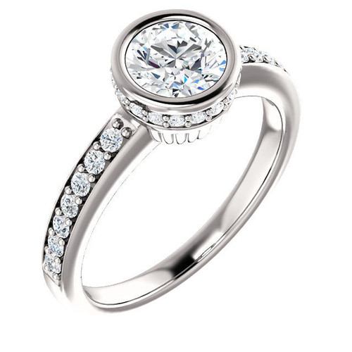 White Gold Round Cut Diamond Accents Engagement Ring