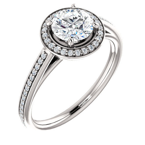White Gold Round Cut Halo Diamond Engagement Ring