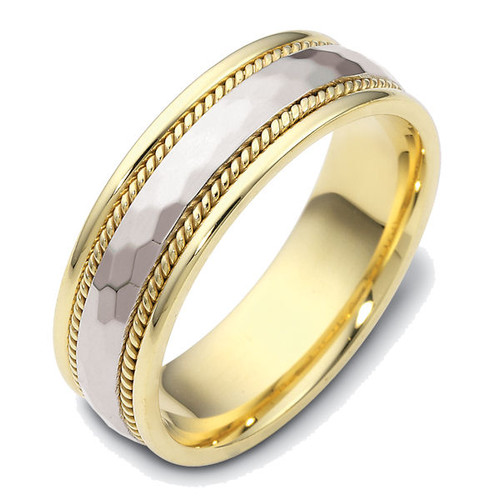14Kt Two-Tone Hammered Wedding Ring