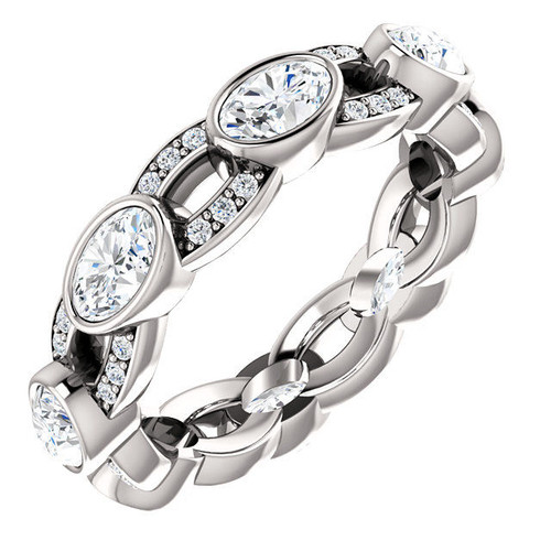 White Gold Twisted Oval Diamond Eternity Ring
