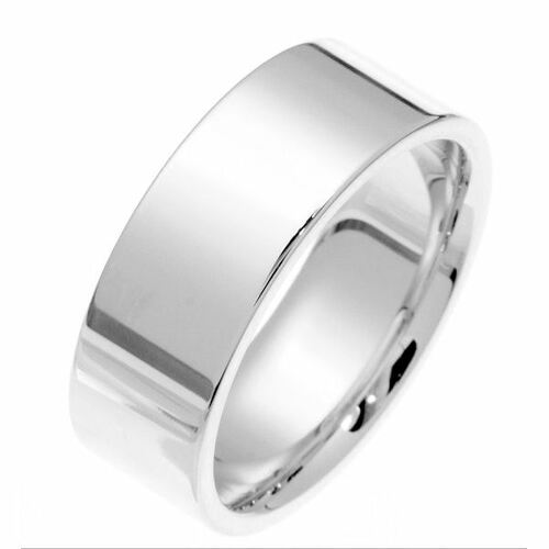 White Gold 8.0 mm Flat Comfort Fit Wedding Band