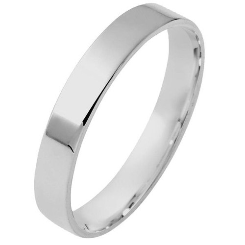 14Kt White Gold 4.0 mm Flat Comfort Fit Wedding Ring