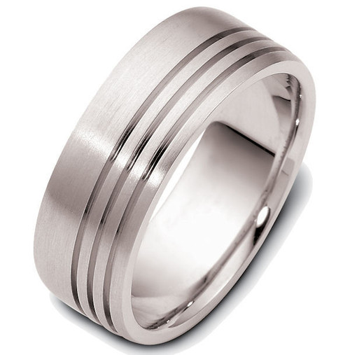 8.0 MM Three Line Carved Wedding Band