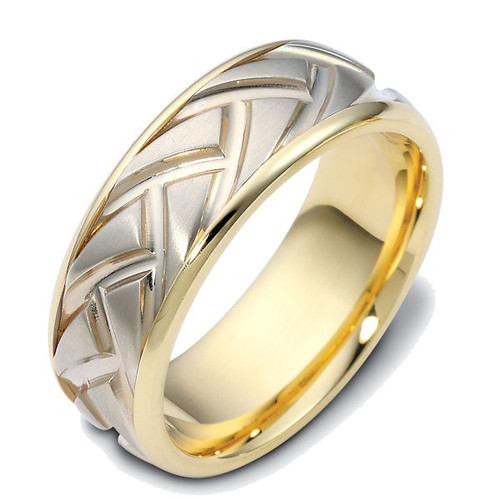 14Kt Two-Tone Carved Wedding Ring