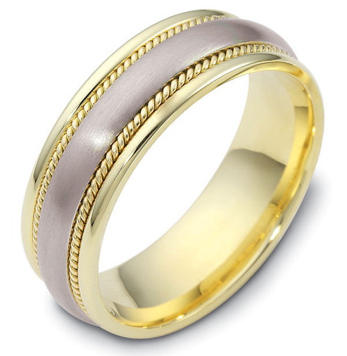 14Kt Two-Tone Classic Wedding Band with Ropes