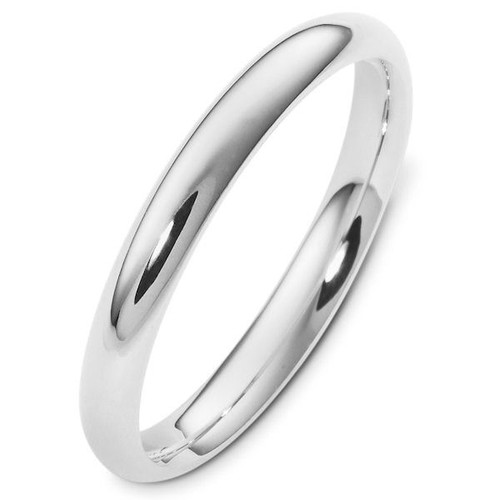 White Gold 3.0 mm Plain Comfort Fit Wedding Band