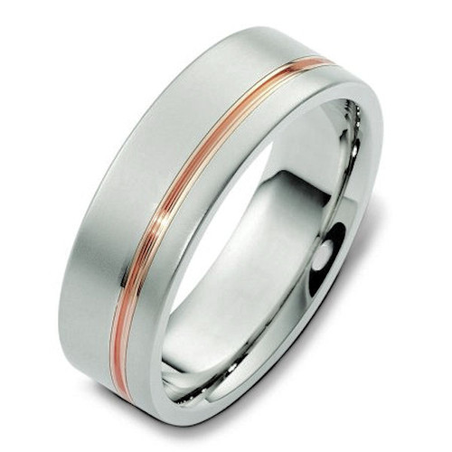 14Kt Rose & White Gold Classic Wedding Band