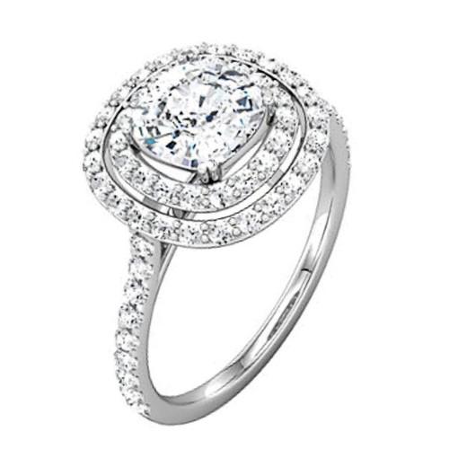 Asscher Cut Double Halo Engagement Ring