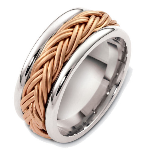 14Kt Rose & White Gold Braided Wedding Ring