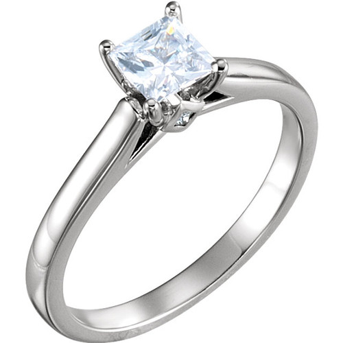 Cathedral Princess Cut Solitaire Engagement Ring