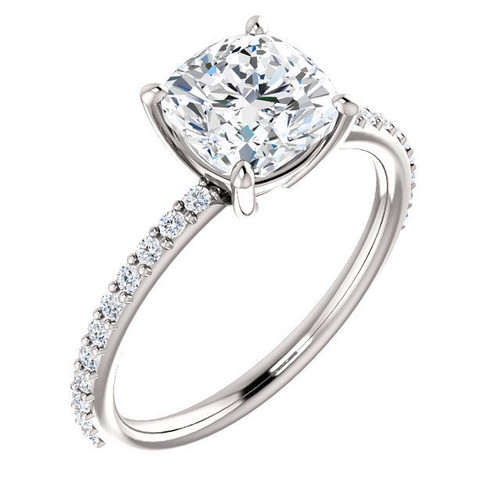 Cushion Cut Diamond Accent Engagement Ring