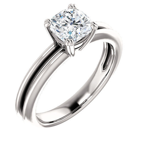 Solitaire Cushion Cut Engagement Ring