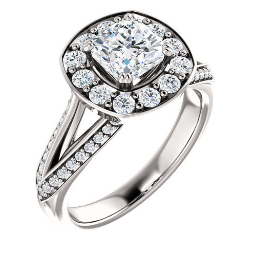 Platinum Cushion Cut Halo Engagement Ring