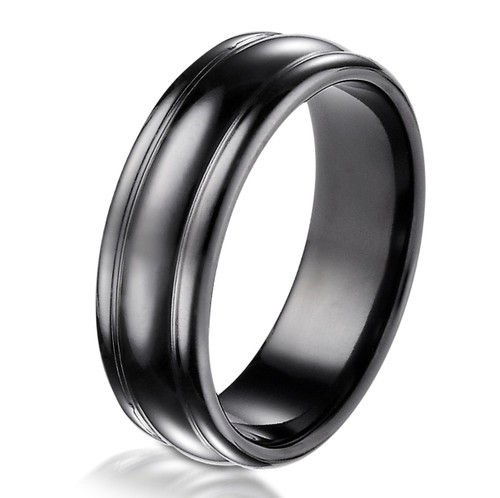 Black Titanium Classic 7.5 MM Wide Wedding Ring