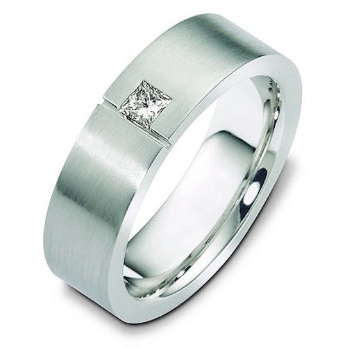 Platinum Princess Cut Diamond Wedding Ring