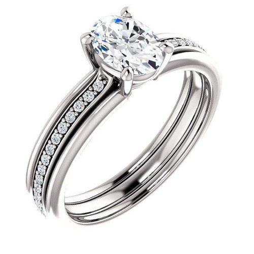 14Kt White Gold Oval Cut Diamond Engagement Ring