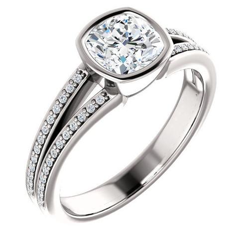 14Kt White Gold Cushion Cut Bezel Engagement Ring