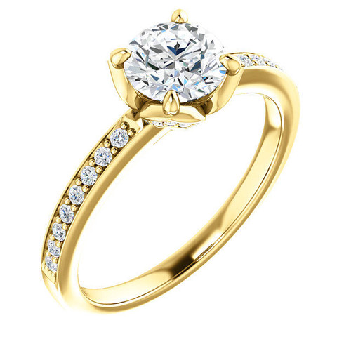 Round Cut Tulip Engagement Ring Setting