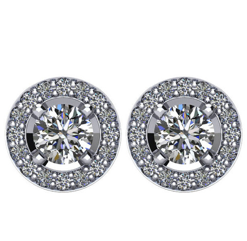 Halo, 1.375 CT TW Diamond Stud Earrings