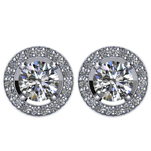 Halo, 1.90 CT TW Diamond Stud Earrings