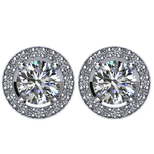 Halo, 2.5 CT TW Diamond Stud Earrings
