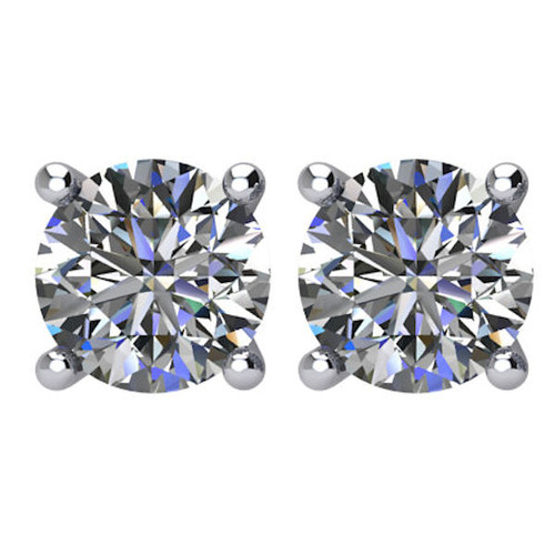 2 CT TW Round Diamond Stud Earrings